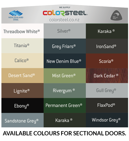 Sectional Garage Door Colour chart from Colorsteel | Knight, Auckland NZ