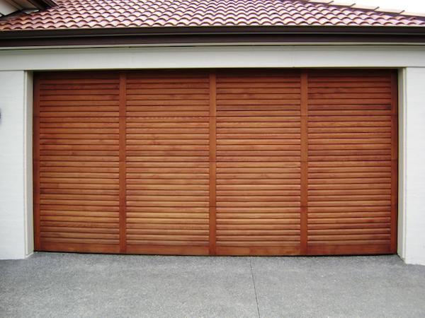 Louvre Cedar Garage Door - Knight Garage Doors